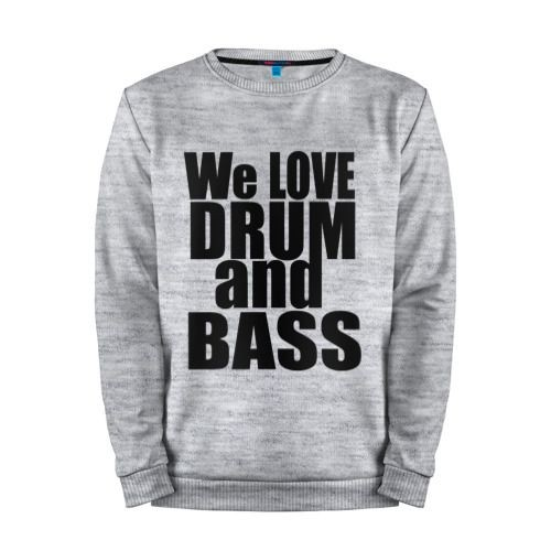 Мужской свитшот хлопок «We love drum and bass music» melange
