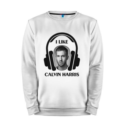 Мужской свитшот хлопок «I like Calvin Harris» white