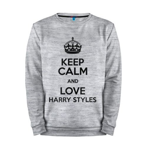 Мужской свитшот хлопок «Keep calm and love Harry Styles» melange