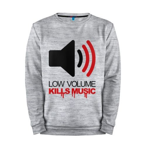 Мужской свитшот хлопок «Low volume kills music» melange