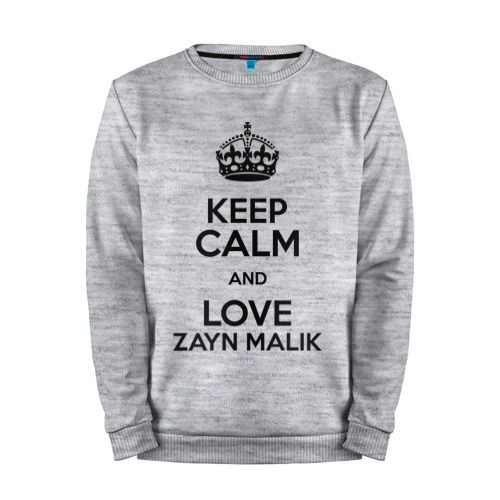 Мужской свитшот хлопок «Keep calm and love Zayn Malik» melange