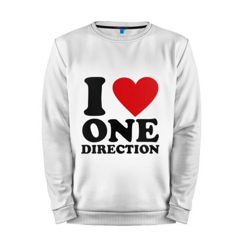Мужской свитшот хлопок «I love one direction» white